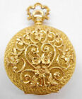 RARE 1906 ELGIN LADIES 14K GOLD HAND CARVED POCKET WATCH  W/ 14K CASE ACCENT **