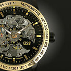 Men's Automatic Mechanical Date Day Black Leather Men Sport Mens Wrist Watch
