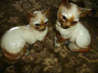 Pair of Vintage Ceramic Tan/Brown Kitty Cats - Made in Japan