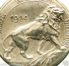 MIGHTY LION OF THE 1914 WORLD WAR - ANTIQUE ART MEDAL PENDANT signed P. THEUNIS