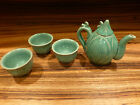 Old japanese studio marked celadon teapot and 3 cups set ca. 1970 large