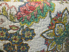 Nicole Miller Paisley Jacobean Flower QUEEN QUILT NEW White BLUE Yellow Orange