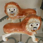 Unique Two Large Antique Staffordshire Lion Dogs Reddish Brown White,Glass Eyes