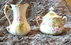 Vintage Hand Painted Nippon Gold Trim Creamer Sugar Bowl Pink Roses  Lovely