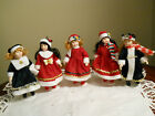 Porcelain Dolls Holiday Set of 5 With Stands