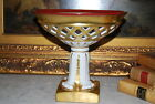 LARGE FRENCH OLD PARIS STYLE HP GOLD GILT RETICULATED FOOTED COMPOTE CENTERPIECE