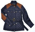 RALPH LAUREN WOMEN QUILTED DESIGNER SUEDE BELTED BARN JACKET COAT NAVY  ~SIZES