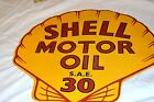 Embossed SHELL MOTOR OIL SIGN Petroleum Gas Station Pump Can Globe Texaco Mobil