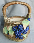 Austrian Majolica basket grape motif numbered vintage