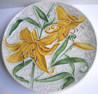 French Majolica Art Nouveau plate slip VBS Villeroy & Boch: Yellow lilies