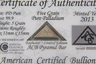 COA Included ACB Pyramid Palladium 99.9 Pure 5Grains  Bullion PD Bar Very Rare/-