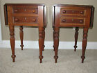 Pair Cherry Drop Side End Tables Reeded Legs 2 Drawer~Estate Find~No Reserve