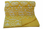 Indian handmade Queen Size Yellow ikat kantha quilt throw bed cover bedding