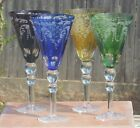 Set of 4 Harlequin Hock Etch Frosted Crystal Wine Goblet~Blue~Red~Green~Yellow