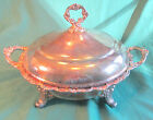 Vintage Old English by Poole 50?5 footed silver-plated serving dish with cover