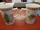 set of 2 (two) Mikasa Teddy's Christmas Teddy Bear Tall coffee Mug, 4 3/4