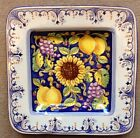 Deruta pottery-10,1/2Inch square plate sunflower and fruit.Made/painted in italy