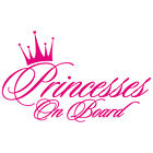 PRINCESSES ON BOARD GIRLS SISTERS BABY CROWN HEART VINYL DECAL STICKER PC 03