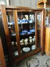 Antique Mission Bow Front Oak China Closet Cabinet Arts & Crafts c.1910