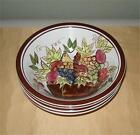Baum Brothers Style Eyes Basket of Fruit 4 Cereal Bowls