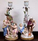 Antique Meissen Pair of Hand Painted Figural Candlesticks late 19th century