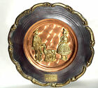 Beatiful Peruvian Copper Wall Hanging Plate Couple Tumi Inka With a LLama 9 3/4