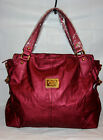NWT FABULOUS SOFT FAUX LEATHER EMBOSSED HOBO BAG - CRANBERRY