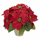 NEW POINSETTIA RED SILK FLOWER CERAMIC VASE NEARLY NATURAL ARTIFICIAL HOUSEPLANT