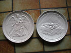 Lot Of 2 FRANKOMA Bone Color Collector Plate Wall Hangings Dated 1973 And 1980