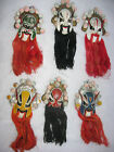 6 VINTAGE ORIENTAL PAINTED FACE MASKS WALL HANGINGS BEARDS HAIR 10