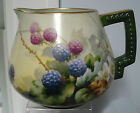 ANTIQUE FRENCH HAND PAINTED PITCHER ARTIST SIGNED M.HARMAN BERRIES,BEAUTIFUL