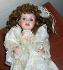 Beautiful Curly Auburn Hair Porcelain Doll Lace Dress Ivory Blue Eye Wondertreat