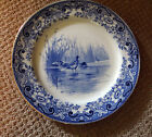 5 ANTIQUE  ROYAL DOULTON BLUE TRANSFERWARE  DINNER PLATES OF GAME BIRDS