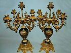 Antique French Hand painted Limoges Porcelain Candelabra set garniture ca 1880