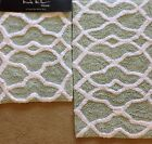 Nicole Miller Home Seafoam Green White Bath Rug /Mat Modern Set Of 2 Bathroom