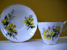 VTG Regency English Bone China Tea Cup & Saucer Yellow Flowers Scalloped Gold