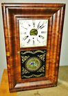 Antique 1800s Forestville clock weight driven key wind reverse painted glass