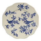 BLUE BIRD TOILE Porcelain Dessert/Salad Plates Set of 2 Sadek #21605 NIB