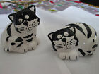 BLACK AND WHITE  CAT SALT AND PEPPER SHAKER WITH NAPKIN HOLDER
