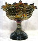 NORTHWOOD CARNIVAL GLASS GRAPE and CABLE COMPOTE 10