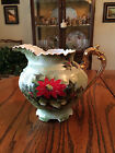 Limited Edition Poinsettia 40oz Pitcher #4389 Lefton China, Hand Painted