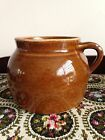 Vintage Brown Glazed Crock Jug/Bean Pot With Handle