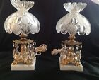Vintage glass table lamps- pair with crystals, marble base