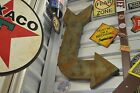 Huge ARROW SIGN Rusted Exit Theater Drive In Game Room Mobil Texaco Coin Coke