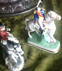 one pair porcelain blue N under crown mark, couple on horseback, GERMANY