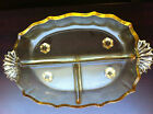 Vintage Beautiful Yellow Glass Oval Divided Serving Dish Footed  EUC