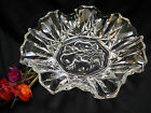 Vintage Federal Glass Candy Dish Bowl Clear Pioneer Fruits Pattern Ruffled Edge