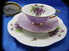 SHELLEY  PURPLE  MAUVE  VIOLETS OLEANDER GOLD TRIM  FOOTED CUP, SAUCER AND PLATE