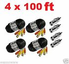 (4) New 100ft BNC CCTV Video Power Cable CCD Security Camera DVR Wire Cord