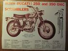 DUCATI 250 350 SCRAMBLER SINGLE BEVEL BERLINER MOTOR CORP BROCHURE PINUP